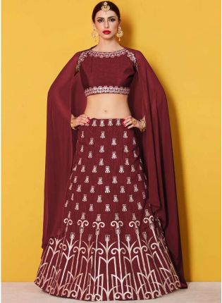 Amusing Maroon Lehenga Choli With Maroon Georgette Dupatta Set
