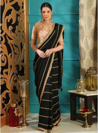 Black Sequins and silk saree