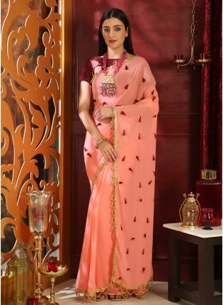 Pink Resham Moti Sequins Georgette Velvet Saree