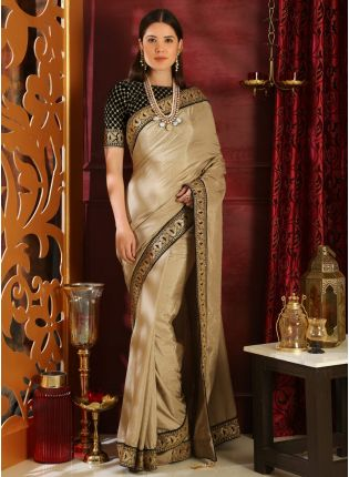 Beige Sequins Lace Silk And Velvet Saree