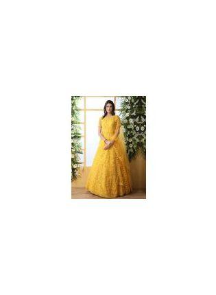 Stunning Mustard Yellow Soft Net Ethnic Ceremonial Designer Gown