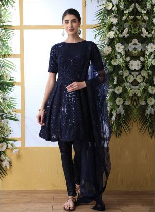 Blue Resham Sequins And Georgette Salwar Suit