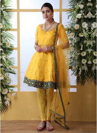 Yellow Resham Sequins And Art Silk Salwar Suit