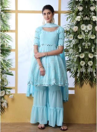 Blue Resham Mirrorwork And Georgette Salwar Suit