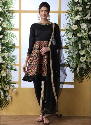 Black Resham Sequins And Art Silk Salwar Suit