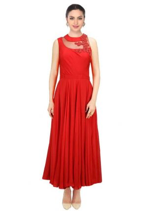 Red Designer Embroidered Gown For Women