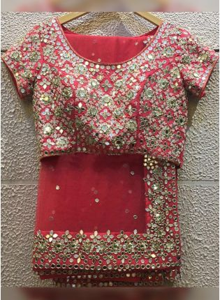 Red Mirrorwork And Zari Embroidered Saree For Sangeet