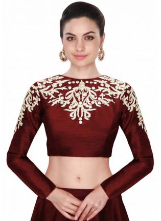 Maroon Embroidered Designer Long Sleeves Blouse