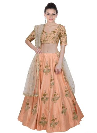 Peach Elegance Lehenga Choli With Light Beige Net Dupatta