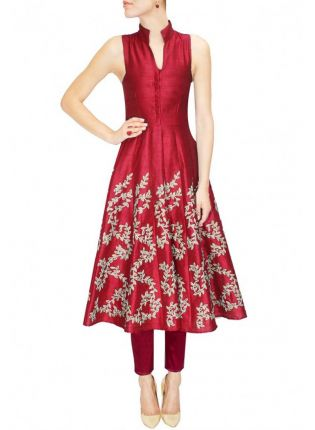 Designer Embroidered Maroon Kurti For Women