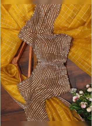 Yellow Mirrorwork Cotton Silk Bollywood Wedding Saree