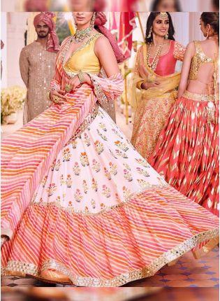 Off White Color With Leheriya Print Designer Ruffle Lehenga Choli