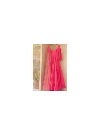 Neon Pink Sequin Georgette Party Wear Designer Gown