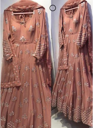 Brown Color Georgette Base Designer Embroidery Work Party Wear Gown
