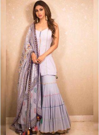 Pastle Purple Color Designer Printed Georgette Base Sharara Suit