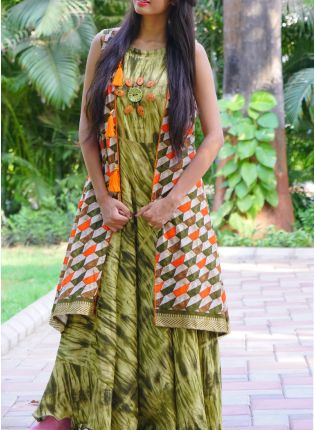 Green Color Kalamkari Pure Rayon Kurti