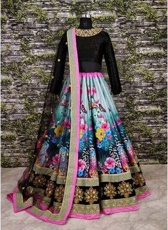 Gorgeous Colourful Featured Floral Motif Lehenga Choli