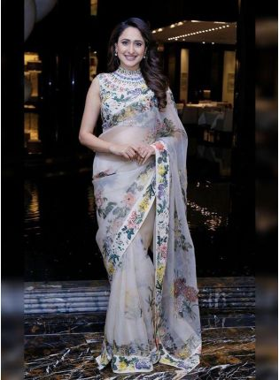 White Digital Print Organza Ceremonial Bollywood Saree