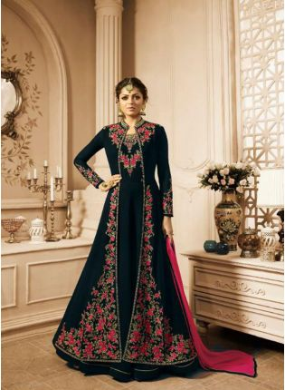 Black Stonework and Georgette Reception Pakistani Slit Cut Suit