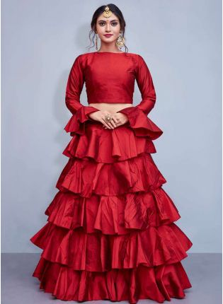 Red Taffeta Silk Base Ruffle Lehenga Skirt With Crop Top