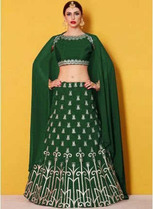 Amusing Green Lehenga Choli With Green Georgette Dupatta Set