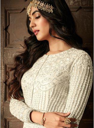 While Resham Stonework Floor Length Anarkali Salwar Suit