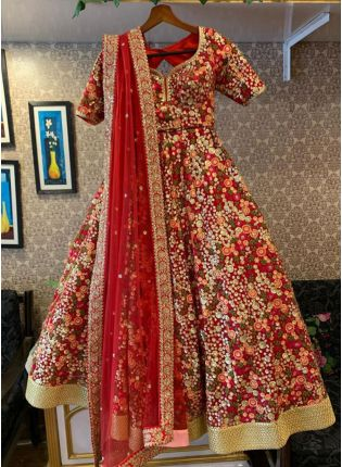 Marvelous Red Net Base Lehenga Choli Base On Embroidered