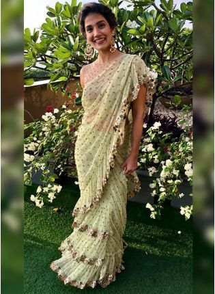 Green Sequin Resham Soft Net Embroidered Ruffle Saree