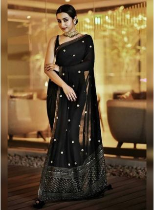 Black Georgette Saree With Embroidery Work