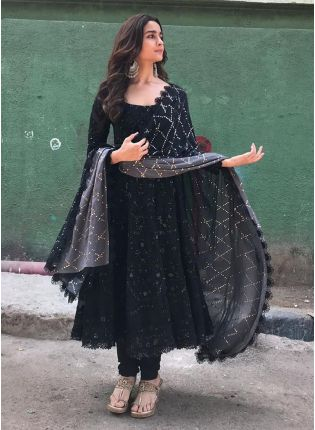 Black Color Georgette Base Designer Anarkali Dress