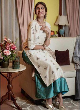 Splendid Beige Colored Palazzo Salwar Suit With Amazing Foil Print