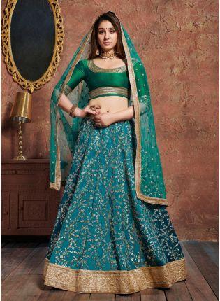 Incredible Green And Blue Art Silk Base Designer Flared Lehenga Choli