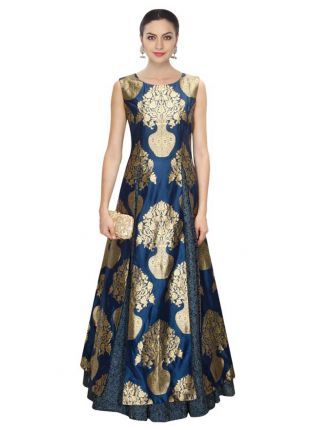 Navy Blue Designer Printed Gown With Lehenga
