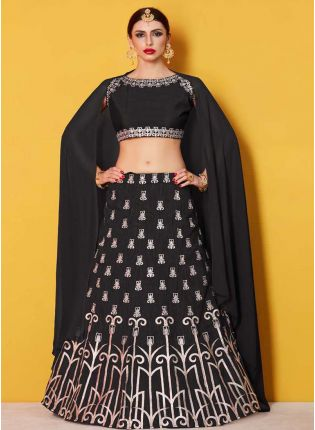 Amusing Black Lehenga Choli With Black Georgette Dupatta Set