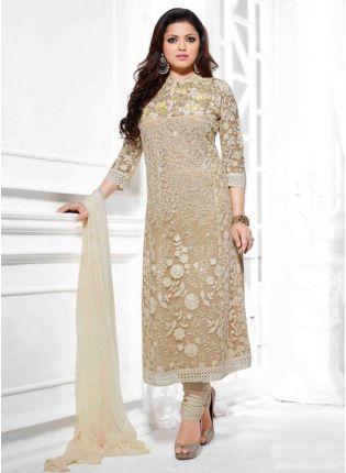 Party Wear Look Beige Colour Fancy Salwar Kameez