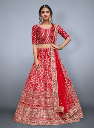 Pink Floral Embroidery On Red Art Silk Base Lehenga Choli