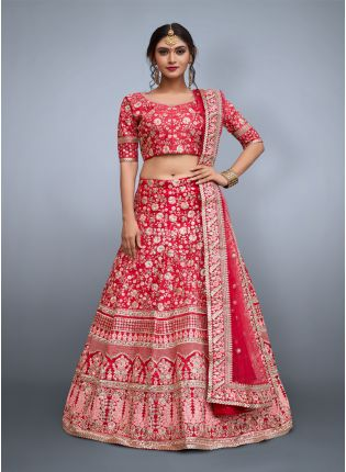 Pink Floral Embroidery On Pink Base Art Silk Lehenga Choli