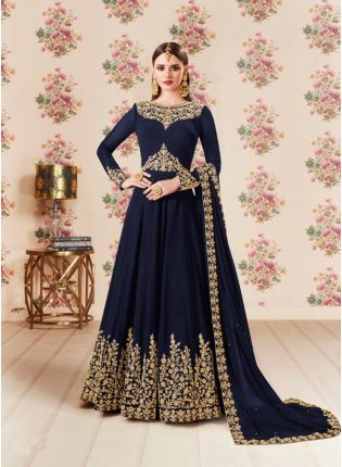 Navy Blue Party Wear Georgette Base Embroidery Work Anarkali Suit