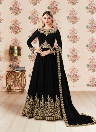 Black Color Party Wear Georgette Base Heavy Embroidery Work Anarkali Suit