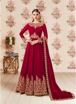 Maroon Color Party Wear Georgette Base Heavy Embroidery Work Anarkali Suit