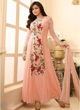 Amazing Peach Colour Fancy Anarkali Designer Suit