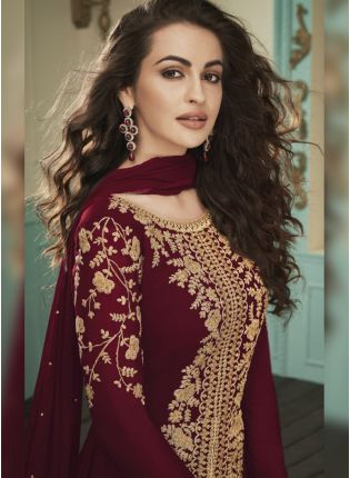 Maroon Stone and Zariwork Georgette Ethnic Slit Cut Anarkali Suit