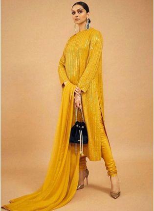 Mustard Sequin Zari Floor Length Churidar Suit Set