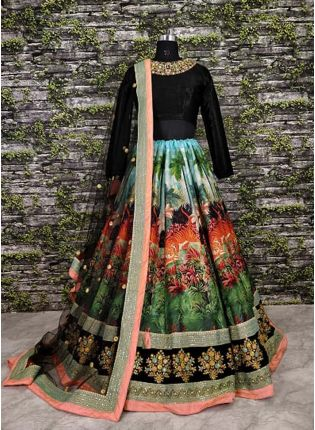 Multi Color Cord Work Designer Lehenga Choli