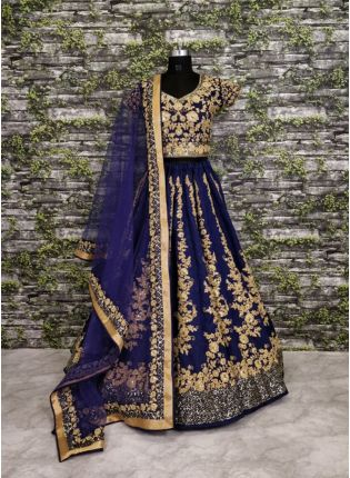 Ravishing Floral Work On Navy Blue Lehenga Choli With Dupatta Set