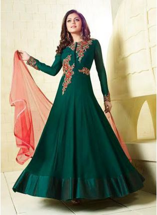 Dark Green Colour Western Wear Gown