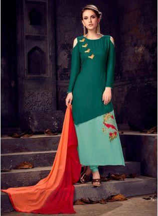Fancy Look Designer Dark Green Color Salwar Kameez