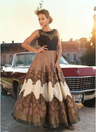 Brown Designer Printed Raw Silk Gown With Brocade Border