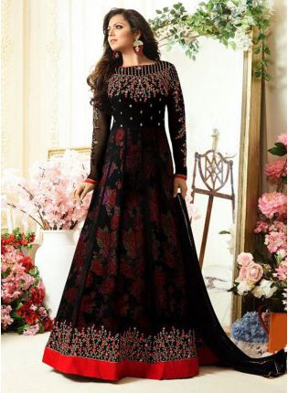 Black Color Floral Printed Designer Salwar Kameez Suit