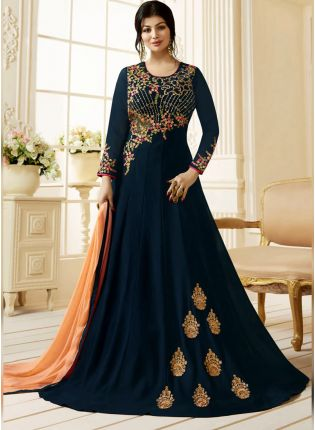 Navy Blue Color Georgette Base Designer Salwar Kameez Suit